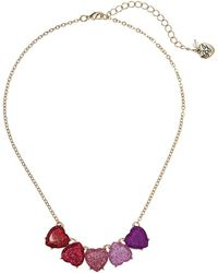 Betsey Johnson - Gold Tone Sparkle Heart Necklace - Lyst