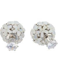 Nina - Front To Back Flower Ball Earrings (rhodium/white Cz) Earring - Lyst