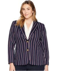 Lauren by Ralph Lauren - Plus Size Striped Jacquard Blazer (navy/rioja/mascarpone Cream) Women's Jacket - Lyst