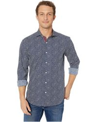 Bugatchi - Long Sleeve Shaped Fit Button-up Shirt (navy) Men's Long Sleeve Button Up - Lyst