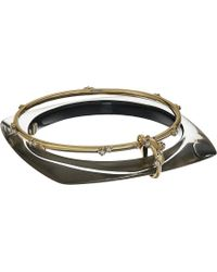 Alexis Bittar - Geometric Linked Bangle Set With Satellite Crystal Detail Bracelet (ash) Bracelet - Lyst