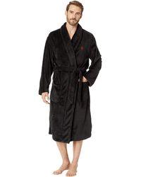 Polo Ralph Lauren - Microfiber Plush Long Sleeve Shawl Collar Robe (polo Black/rl2000 Red Pony Print) Men's Robe - Lyst