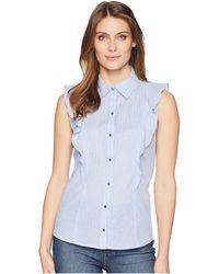 Ivanka Trump - Sleeveless Printed Ruffle Blouse With Collar (blue/white Stripe) Women's Sleeveless - Lyst