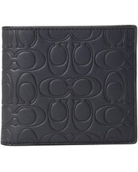 COACH - Double Billfold In Embossed Signature Leather (blue) Bill-fold Wallet - Lyst