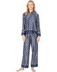 Lauren by Ralph Lauren - Satin Rounded Collar Pajama Set (navy Print) Women's Pajama Sets - Lyst