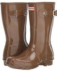 1b6fe738f72 HUNTER - Original Short Gloss Rain Boots (mushroom) Women s Rain Boots -  Lyst