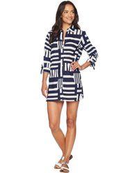 Tommy Bahama - Blocked Geo Boyfriend Shirt Cover-up (white/mare Navy) Women's Swimwear - Lyst