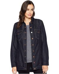 Liverpool Jeans Company - High-low Shirt Jacket In Classic Soft Rigid Denim (indigo Rinse) Women's Coat - Lyst
