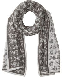 MICHAEL Michael Kors - Grid Logo Muffler (black/derby/gunmetal) Scarves - Lyst