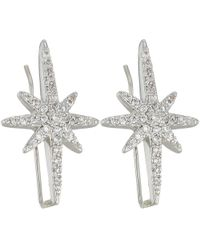 Betsey Johnson - Blue By Silver Tone Earrings Climbers With Pave Crystal Accented Starburst (crystal) Earring - Lyst