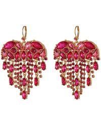 Betsey Johnson - Heart Stone Fringe Drop Earrings (pink) Earring - Lyst