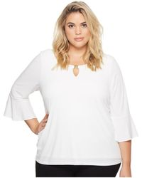 Calvin Klein - Plus Size Ruffle Sleeve Top With Bar Hardware (soft White) Women's Short Sleeve Pullover - Lyst