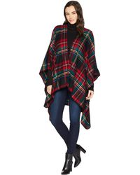 San Diego Hat Company - Bsp3546 Open Front Woven Plaid Poncho (red) Women's Clothing - Lyst