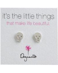 Dogeared - It's The Little Things Earrings Skull (silver) Earring - Lyst