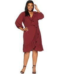Adrianna Papell - Plus Size Pebble Chiffon Faux Wrap Dress (pale Mahogany) Women's Dress - Lyst