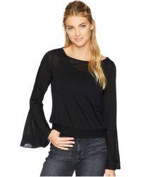 Three Dots - Flounce Sleeve Crop Top (black) Women's Long Sleeve Pullover - Lyst