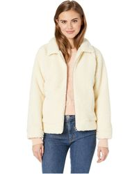RVCA - Ted Sherpa Zip Through Jacket (vintage White) Women's Coat - Lyst