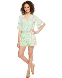 21bcc4cde0ce Lilly Pulitzer - Madilyn Romper (tiki Pink Royal Lime Engineered) Women s  Jumpsuit   Rompers