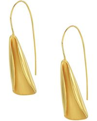 Cole Haan - Curled Wave Motif On Wire Earrings (matte/polished Gold) Earring - Lyst