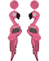 Kenneth Jay Lane - 4.5 Pink/hematite Seed Bead Flamingo Post Earrings (pink/hematite) Earring - Lyst