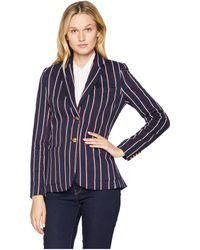 Lauren by Ralph Lauren - Petite Striped Jacquard Blazer (navy/rioja/mascarpone Cream) Women's Jacket - Lyst