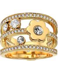 Michael Kors - In Full Bloom Floral And Crystal Accent Stacked Ring - Lyst