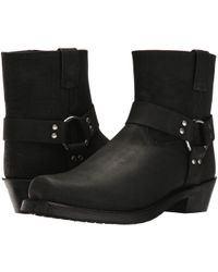 Old West Boots - Short Harness Boot (black Distressed) Cowboy Boots - Lyst