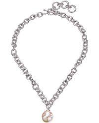 "Majorica - 18mm Baroque Pendant Necklace 17"" - Lyst"