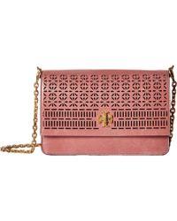 Tory Burch - Kira Perforated Shoulder Bag (pink Magnolia) Shoulder Handbags - Lyst