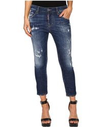 DSquared² - Perfetto Wash Cool Girl Cropped Jeans In Blue - Lyst