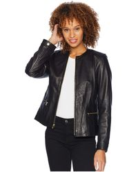 Cole Haan - 23 1/4 Smooth Lamb Collarless Jacket With Quilted Details (black) Women's Coat - Lyst