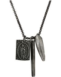 Steve Madden - Stainless Steel 24 Religious Bar Charm Rolo Chain Necklace (silver) Necklace - Lyst