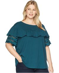B Collection By Bobeau - Plus Size Brynlee Lace Trim Tee - Lyst
