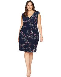 Lauren by Ralph Lauren - Plus Size Adara Avendida Floral (lighthouse Navy/purple Multi) Women's Dress - Lyst