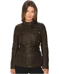 Belstaff - Roadmaster 2.0 Signature 6 Oz. Wax Cotton Jacket (faded Olive) Women's Coat - Lyst