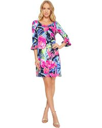 4cb69675747 Lilly Pulitzer - Upf 50+ Sophie Ruffle Dress (high Tide Navy Tropicolada)  Women s