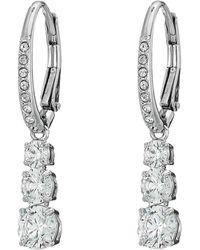 004a5e96e2699f Swarovski - Attract Trilogy Round Pierced Earrings (green) Earring - Lyst