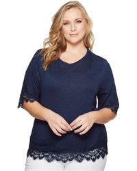 B Collection By Bobeau - Plus Size Reeve Lace Trim Tee - Lyst