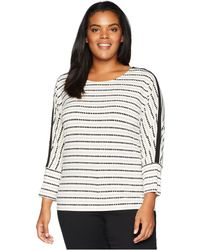 Calvin Klein - Plus Size Printed Long Sleeve Top W/ D Ring Detail (soft White/latte) Women's Long Sleeve Pullover - Lyst