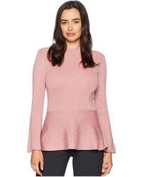 Ivanka Trump - High Neck Flared Sleeve Peplum Sweater - Lyst
