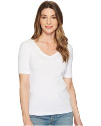 Three Dots - 9 Sleeve V-neck (white) Women's Short Sleeve Pullover - Lyst