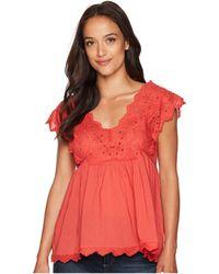 Lucky Brand - Eyelet Tank Top (poppy Red) Women's Short Sleeve Pullover - Lyst