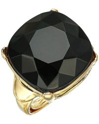 8f01e84059cd91 Kenneth Jay Lane - 18 Mm Gold jet Square Stone Adjustable Ring (gold