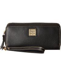Dooney & Bourke - Pebble Double Zip Wallet (midnight Blue W/ Tan Trim) Wallet Handbags - Lyst