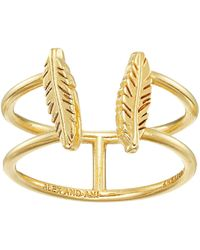 ALEX AND ANI - Feather Ring (14kt Gold Plated) Ring - Lyst