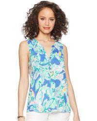 Lilly Pulitzer - Essie Top (nauti Navy Capri Soleil) Women's Clothing - Lyst