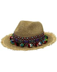 San Diego Hat Company - Ubf1111 Fedora With Multicolor Pom (natural) Fedora Hats - Lyst