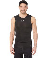 3335682cc9301 Nike - Pro Top Sleeveless Compression (black white white) Men s Clothing -