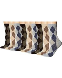 Ecco - Argyle Crew Socks - 9 Pack (gray/brown/khaki) Women's Crew Cut Socks Shoes - Lyst