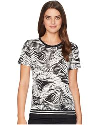 Lauren by Ralph Lauren - Tropical-print Linen-blend Top (black/mascarpone Cream) Women's Clothing - Lyst